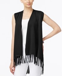 Joseph A Fringe Sweater Vest Black