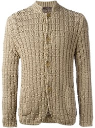 Etro Woven Knit Buttoned Cardigan Nude And Neutrals