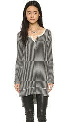Free People Drippy Rib Gwen Henley Black Tea