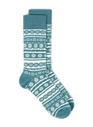 Topman Teal Fairisle Pattern Christmas Socks