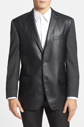 Marc New York Classic Fit Faux Leather And Wool Sport Coat Black