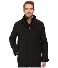 Dockers Stand Collar Zip Front With Attached Fleece Bib Black Men's Coat