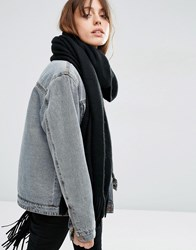 Asos Long Tassel Scarf In Supersoft Knit Black