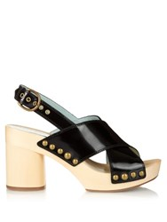 Marc Jacobs Linda Leather And Wooden Clogs Black