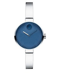 Movado Edge Stainless Steel Textured Dial Bangle Bracelet Watch Silver