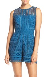 Adelyn Rae Women's Mixed Lace Romper Teal