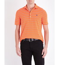 Polo Ralph Lauren Slim Fit Stripe Print Cotton Pique Shirt Active Orange W