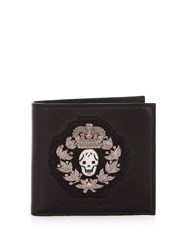 Alexander Mcqueen Crest Applique Bi Fold Leather Wallet Black Multi