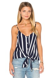 Eight Sixty Knotted Button Front Tank Navy