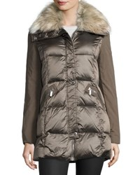 French Connection Quilted Down Jacket With Faux Fur Collar Taupe