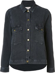 The Great Pinstriped Denim Jacket Black