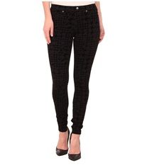 Hue Flocked Houndstooth Super Smooth Denim Leggings Black Women's Jeans