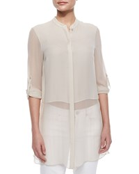 Elie Tahari Viviann Silk Sheer Tunic Blouse Tan