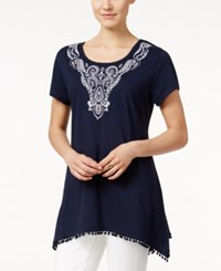 Styleandco. Style And Co. Handkerchief Hem Embroidered Top Only At Macy's Winter White