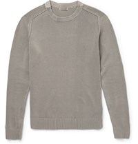 Bottega Veneta Slim Fit Stretch Cotton Sweater Gray