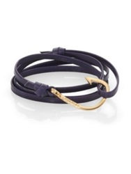 Miansai Hook Leather Bracelet Goldtone Navy
