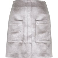 River Island Womens Silver Velvet Pocket Mini Skirt