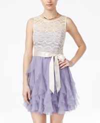Teeze Me Juniors' Ruffled Lace A Line Dress Natural Lilac