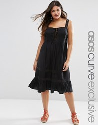Asos Curve Sundress With Crochet And Lace Up Front Black