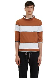 Telfar Raw Layered Mock Neck Striped T Shirt Brown