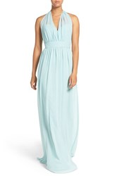 Hayley Paige Occasions Women's Ruched Waist Chiffon Halter Gown Ice Blue