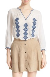 Women's Joie 'Magana' Embroidered Cotton Peasant Blouse