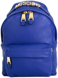 Moschino Logo Plaque Backpack Blue