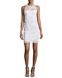 Nanette Lepore Sleeveless Lace Illusion Sheath Dress White Size 2 Ivory