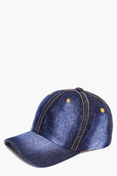 Boohoo Washed Denim Baseball Cap Blue