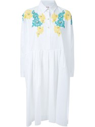 Antonio Marras Lace Applique Shirt Dress White