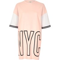River Island Womens Pink Nyc Print Oversized Sweat T Shirt