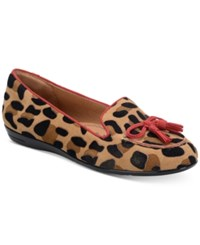 Sofft Novato Bow Moccasins Women's Shoes Tan Red Leopard