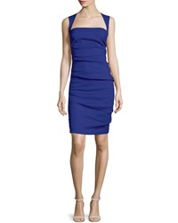 Nicole Miller Artelier Felicity Sleeveless Square Neck Ruched Dress Royal Blue