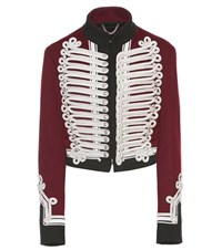 Burberry Wool Military Jacket With Braided Regalia Red