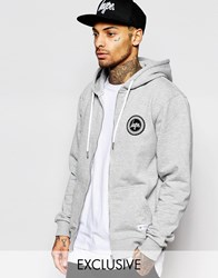 Hype Zip Up Hoodie With Crest Logo Gray