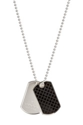 Gucci Sterling Silver Ball Chain Dogtag Necklace Metallic