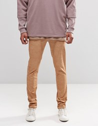 Asos Skinny Chinos With Oil Wash In Tan Indian Tan Beige