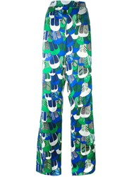 Dsquared2 Patterned Wide Leg Trousers Green
