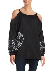 Design Lab Lord And Taylor Tie Dye Cold Shoulder Tunic Black