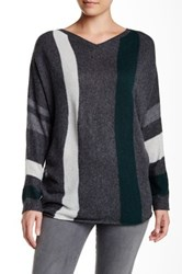 Velvet By Graham And Spencer Shania Stripe V Neck Sweater Gray
