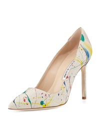 Manolo Blahnik Bbmal Splatter Paint Canvas Pump