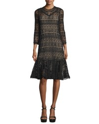 Rebecca Taylor 3 4 Sleeve Lace Sheath Dress Black