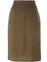 Prada Vintage Classic Pencil Skirt Brown