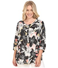 Nydj Plus Size Solid 3 4 Sleeve Pleat Back Floral Mirage Pink Lemonade Women's Long Sleeve Button Up Black