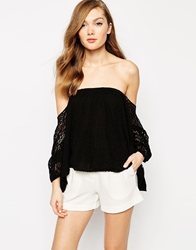 Boulee Audrey Off The Shoulder Lace Gypsy Top Blacklace