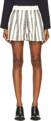 3.1 Phillip Lim White Sketched Stripe Leather Shorts