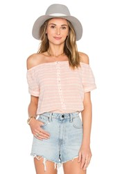 Mara Hoffman Off The Shoulder Button Down Top Pink