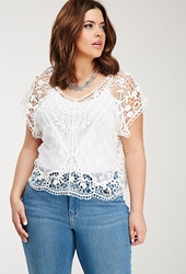 Forever 21 Mesh Paneled Crochet Top White