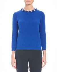 Carolina Herrera Knit Cashmere Sweater W Embellished Collar Cobalt