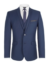 Limehaus Plain Notch Collar Slim Fit Suit Jacket Sapphire Blue